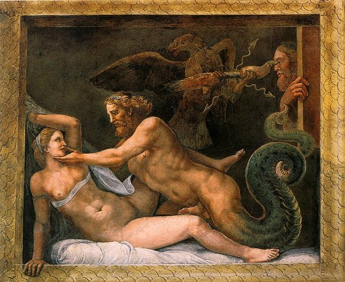 В эти же годы (после 1524 г.) в Мантуе Д.Романо создает большое эротическое полотно